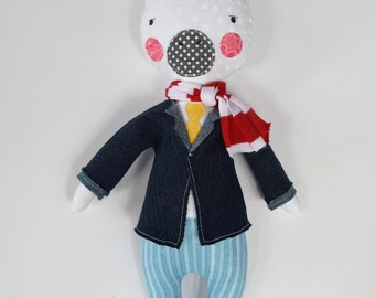 unicorn rag doll: Mr. Unicorn, rosey rag doll, modern, free personalization