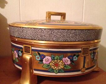 Art Deco Satsuma Ceramic Covered Dish / Vintage Art Deco / Vintage 1930s