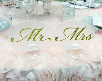Oval Mr. and  Mrs. Table Stand with Gold, Silver, Black, Pink Glitter. Mr and Mrs Sign, wedding decorations/ wedding centerpieces, bride