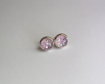 SMALL Light Purple Chunky Faux Druzy Glitter Earrings - Posts/Studs 8mm (D198)