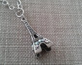 Effiel Tower with Iredesient Rhinestones Pendant Necklace and Matching Antique Silver Jewelry