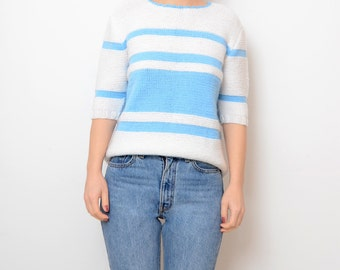 Vintage wool white baby blue striped women top