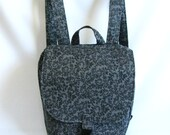 Small backpack- Two tone grey tendril print cotton