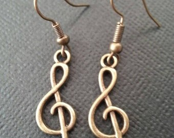 Bronze Treble Clef Earrings