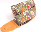 Guitar Strap in Botanical Garden with Caramel Leather Ends and Pick Pouch
