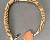 Antique Victorian Hairweave Long Fob with Goldstone Heart Pendant