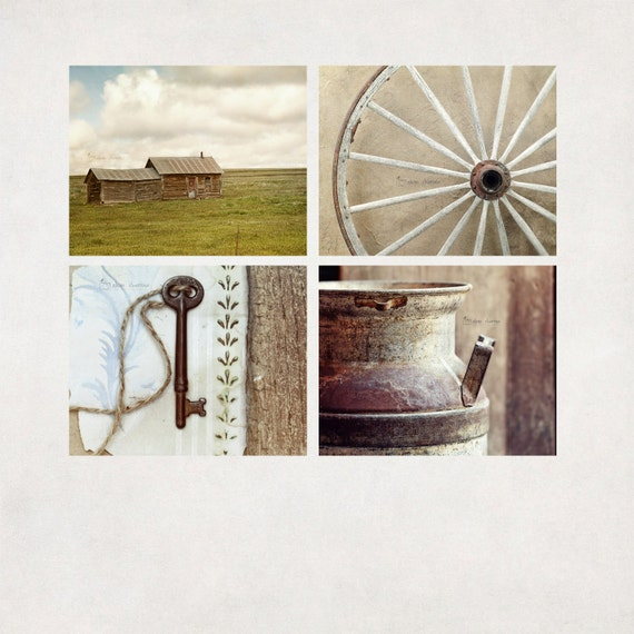 Rustic photography set of 4 country wall art farmhouse - Wall decor photography ...