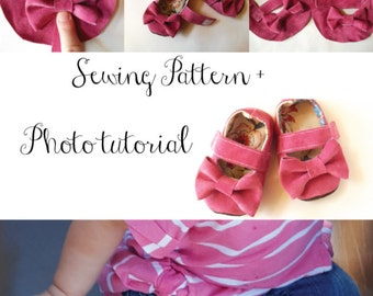 Baby Bow Mary Janes PDF Sewing Pattern Tutorial Sizes NB-2T