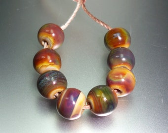 8 Rounds Bead Set in a delicious earthy organic rainbow of Raku, 8 mm. OOAK SRA lampwork