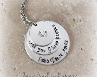 Personalized Mom Necklace,For You I Prayed Necklace,Baby Footprint Necklace,New Mom Necklace,Mother's Day Gift,Mom Jewelry,Keepsake Jewelry