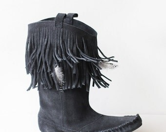 Vintage soft black suede leather feather fringe moccasin flat slouchy boots shoes 9