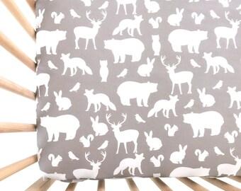 Crib Sheet Gray Woodland Party. Fitted Crib Sheet. Baby Bedding. Crib Bedding. Minky Crib Sheet. Crib Sheets. Bear Crib Sheet.