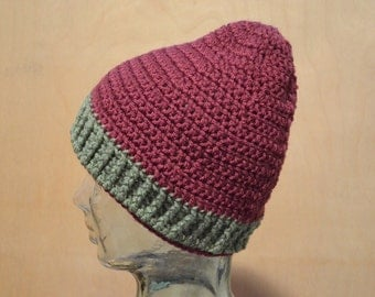 Adult Hat, Crocheted Hat, Maroon and Green Hat