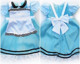 Girls Alice in Wonderland Costume Dress Handmade Unique Sz 2/3 - Ready to Ship