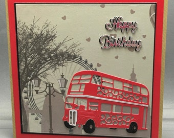 Traditional Red London Double Decker Bus With London Background Birthday Card