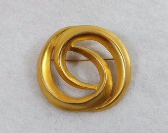 Modern Style Matte Gold Tone Brooch