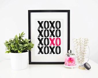 Love Print, Printable Wall Art, Art Print, Printable, XOXO Print