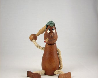 Mid Century Wood Figurine Danish Style with Rope Arms