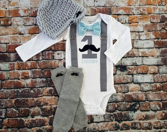 Mustache Baby Boy First Birthday Outfit - Little Man, Birthday Bow Tie Bodysuit, Button Leg warmers, Hat, Cake smash, 1st Birthday, Blue