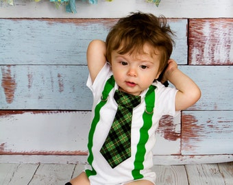 Baby Boy Saint Patricks Day Green Plaid Tie Bodysuit with Green Suspenders - Lucky Charm photo prop, Shamrock, St Patrick Baby, Irish