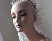 Reserved for Racha   RARE  hand blown glass flower leaf tiara with lame metallic thread, icy winter wedding look. TIARA 68R