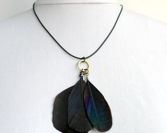 Feather Necklace - magpie, crow and jackdaw feather pendant necklace