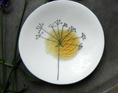 Porcelain White Ring Dish Recycled Glass OOAK Flower Ceramic Plate Jewelry Dish Candle Holder