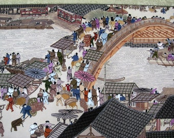 Chinese Suzhou Embroidery Panel of Along the River During the Ch'ing-ming Festival - Chinese Su Embroidery Panel - Vintage Suzhou Panel