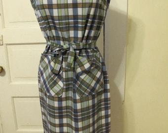 1950s Cotton Plaid House Dress sz M