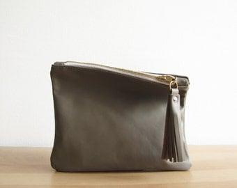 Gray Leather clutch bag, Leather pouch, Clutch bag, Tassel, Soft leather bag, Handbag, Zipper clutch
