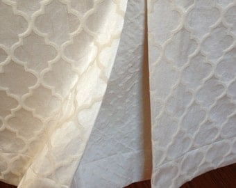 """Box Pleat Crib Skirt: neutral baby bedding, luxury """"Oatmeal & Cream"""" cotton luxe collection, Custom Made to Order"""