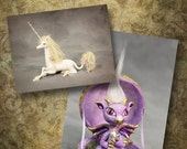 Reserved for Natalie//Prancer Medieval Style Tapestry Unicorn and baby dragon