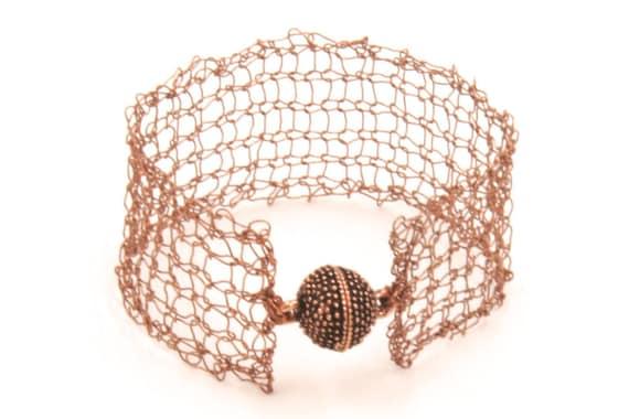 Handcrafted Copper Bracelet - Wire Knit Bracelet - Antique Copper Bracelet - Copper Lace Jewelry - Mesh Bracelet - Wire Knit Cuff