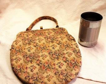 Vintage Floral Tapestry Structured Handbag  T1