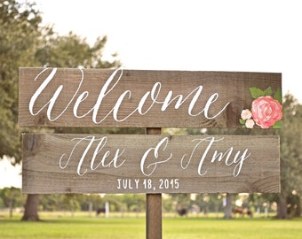 Wedding Welcome Sign, Wedding Calligraphy Sign, Flower Wedding Sign, Wooden Arrow Sign, Wedding Signage, Beach Wedding Sign