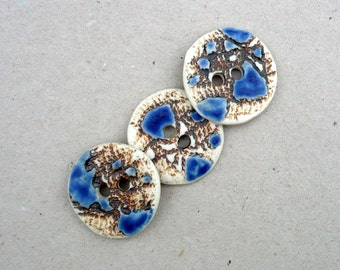 Blue White And Rust Buttons, Buttons For Collecting , Large Porcelain Buttons  , Crafting Supplies