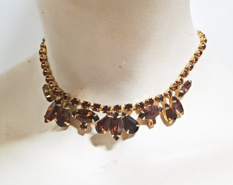 1960s Jeweled Chestnut Brown Necklace