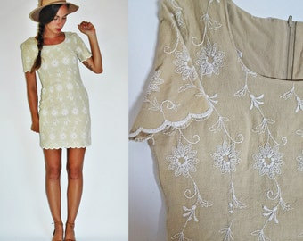 1980s Embroidered Linen Wiggle Mini Dress