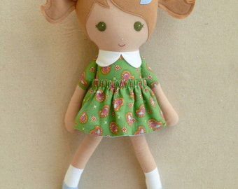 Fabric Doll Rag Doll Light Brown Haired Girl in Green Paisley Dress
