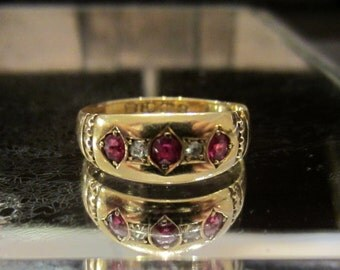 Vintage Engagement Ring, Victorian Ruby and Diamond Ring 18k, British c. 1893, Ruby Ring, Antique Engagement Ring, Antique Jewelry