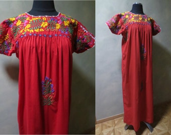 Deep Red Mexican Floral Embroidered Folk Maxi Peasant Dress 1960-70's Boho Festival Fiesta