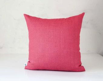 Pink decorative pillow - throw pillows - custom size throw pillow - decorative cushion - linen pillowcase - pink linen pillow
