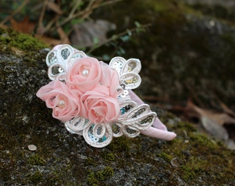 Light Pink Headband,Blush Headband, Sequin flower headband, Flower girl headband