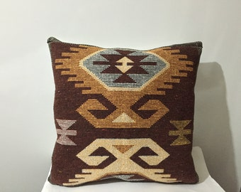 Traditional Turkish Kilim Pillow Cover, Brown and Ivory Pillow Case , Wowen Kilim Pillow