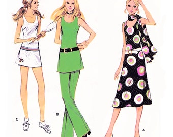 """1971 Weekend Getaway Separates, Scoop Neck Dress, Tennis Dress, Tunic, Flared Pants and Shorts, Easy, McCall's 2836, Bust 34"""", Uncut"""