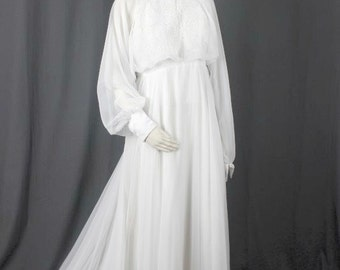 Reserved - Vintage Wedding Dress Lace chiffon overlays layers long sleeves women size M medium