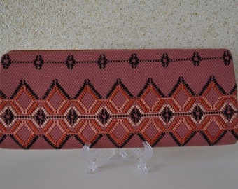 Vintage Japanese clutch purse, hand embroidered, deep pink fabric, 1960s