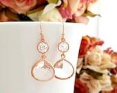 ROSE GOLD EARRING, Wedding Earrings, Drop, bridesmaid gift, bridal Earrings, Clear, Studs Earrings, post earrings, Christmas Gift