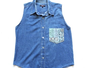 Women's Remade Vintage Denim Shirt UK 14