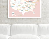 USA Map, Print, US Travel Map, Map of USA,Travel Nursery,Wall Art for Kids,High School Graduation,Travel Map usa, Map of United States, Pink